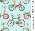 bicycle seamless background - stock vector
