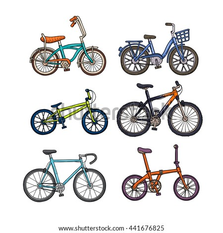 bicycle set, colorful different type, vector illustration on isolated white background. - stock vector