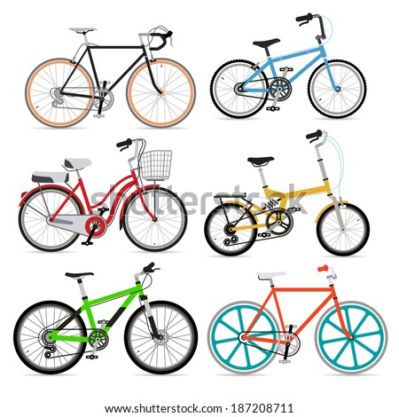 Bicycle set. Vector Illustration. - stock vector