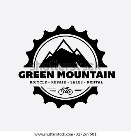 bicycle shop logo. Mountain Logo, Vector Logo Template - stock vector