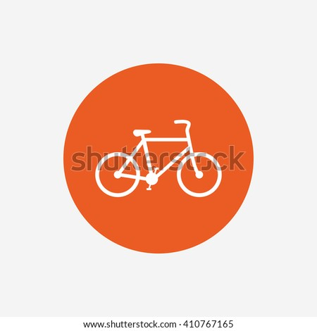 Bicycle sign icon. Eco delivery. Family vehicle symbol. Orange circle button with icon. Vector - stock vector