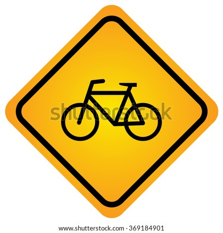Bicycle sign , road sign - stock vector