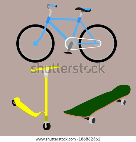 Bicycle, skateboard, scooter. Vector - stock vector