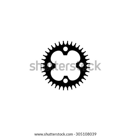Bicycle sprocket. Black simple vector icon - stock vector