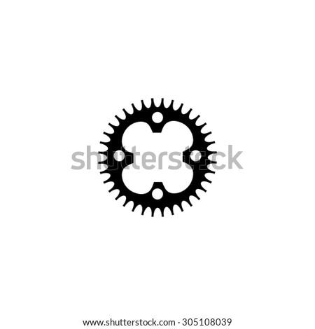Bicycle sprocket. Black simple vector icon - stock vector