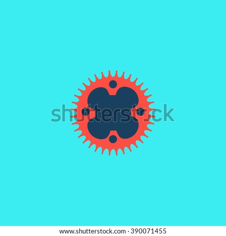 Bicycle sprocket. Flat simple modern illustration pictogram. Collection concept icon for infographic project and logo - stock vector