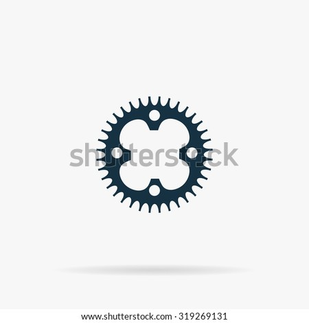 Bicycle sprocket. Flat vector web icon or sign on grey background with shadow. Collection modern trend concept design style illustration symbol - stock vector