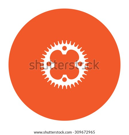Bicycle sprocket. Flat white symbol in the orange circle. Vector illustration icon - stock vector