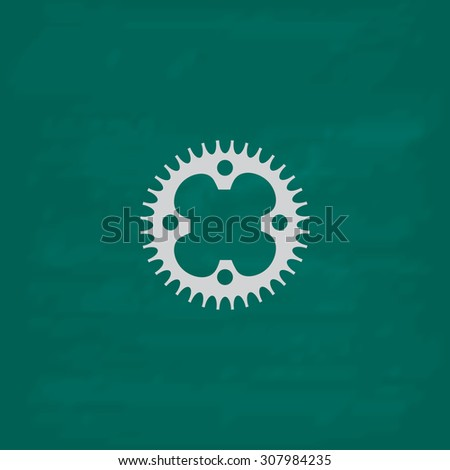 Bicycle sprocket. Icon. Imitation draw with white chalk on green chalkboard. Flat Pictogram and School board background. Vector illustration symbol - stock vector