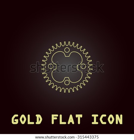 Bicycle sprocket. Outline gold flat pictogram on dark background with simple text.Vector Illustration trend icon - stock vector