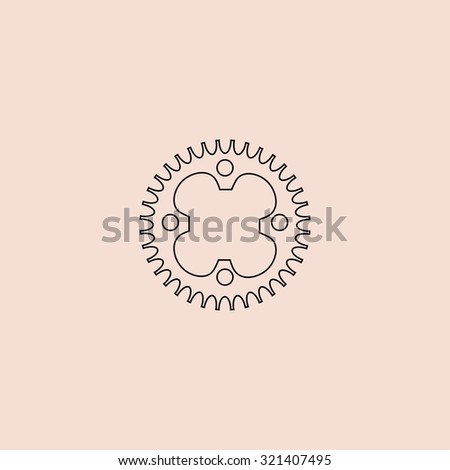 Bicycle sprocket. Outline vector icon. Simple flat pictogram on pink background - stock vector