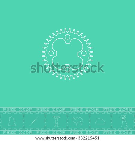 Bicycle sprocket. White outline flat symbol and bonus icon. Simple vector illustration pictogram on green background - stock vector