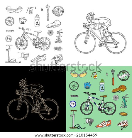 Bicycle stuff. Racing cyclist. Big doodle set in vector. Isolated.  - stock vector