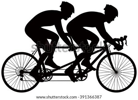 Bicycle Tandem Racer Vector Silhouette Cycle Race Derby Sport Series