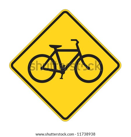 Bicycle traffic warning on white - stock vector