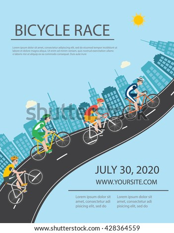 Bicycle trip or race poster or flyer, vector illustration - stock vector