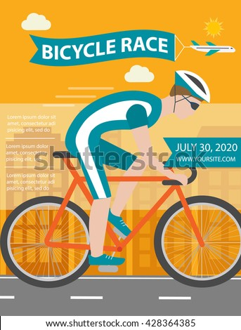 Bicycle trip or race poster or flyer with cyclist riding bike, vector illustration - stock vector