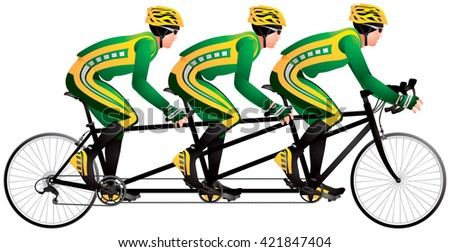 Bicycle Triples Or Triplets Tandem Racers Realistic Color Vector Illustration Cycle Race Derby Sport Series