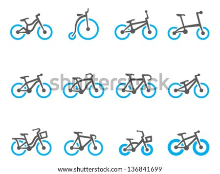 Bicycle type icons in duo tone colors - stock vector