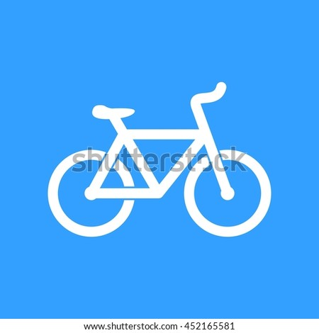 Bicycle vector icon. White Illustration isolated on blue background for graphic and web design.