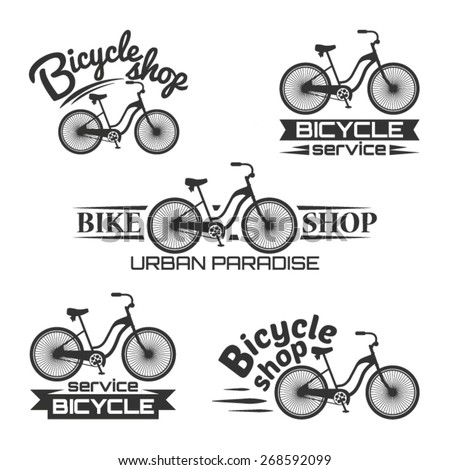Bicycle vector label design set bike shop and service logotypes for your design - stock vector