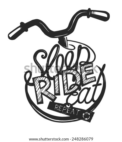 Bicycle vintage lettering for ride lovers. - stock vector