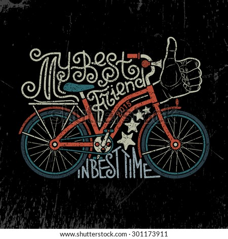 Bicycle vintage lettering. Hand drawn lettering logo with bike. Biking as a lifestyle vintage poster. Hipster bike. Grunge texture grouped separately and is easily removed. - stock vector