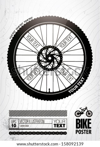 Bicycle wheel. Poster template - stock vector
