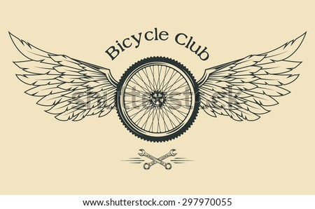 Bicycle Wheel with feathers and wings vintage emblem in the classical style. - stock vector