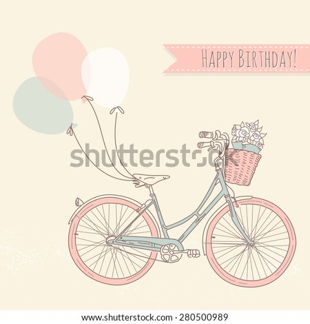 Bicycle with balloons and a basket full of flowers, Romantic Birthday card - stock vector