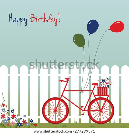 Bicycle with balloons and flowers in front the fence. Romantic birthday card. Vector illustration. - stock vector