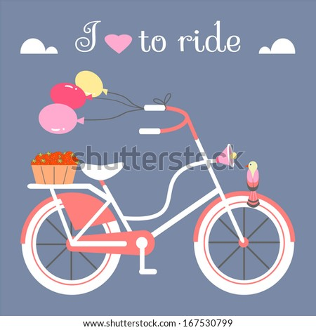 Bicycle with Balloons and Strawberry Basket - stock vector