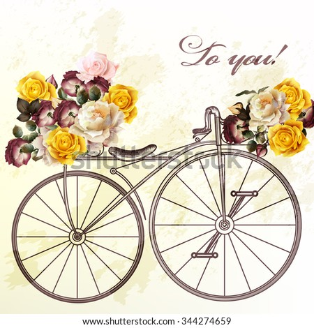 Bicycle with basket fully of rose flowers to you - stock vector