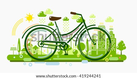 Bicycle with green city - stock vector