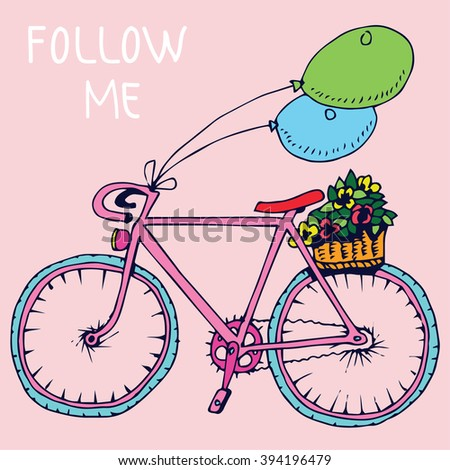 Bicycle with text. - stock vector