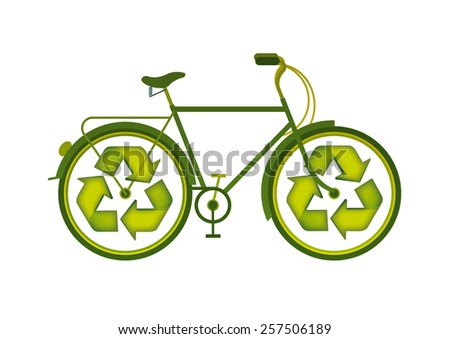 bicycle with the icon of recycling as wheels - stock vector