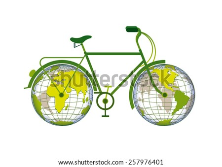 bicycle with the planet earth as wheels - stock vector