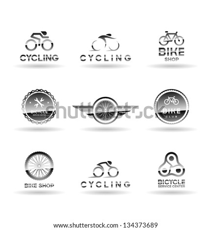 Bicycles and cycling. Icons set. Vol 1. - stock vector