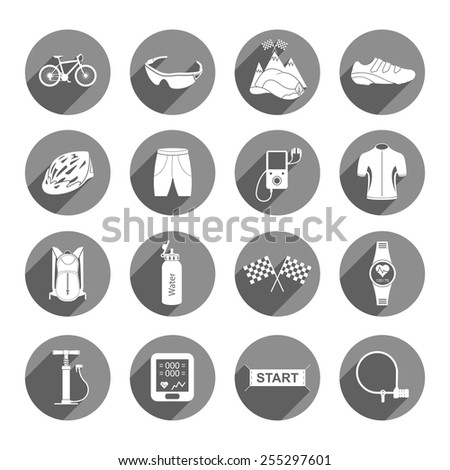 Bicycles. Isolated vector bike accessories set. Spare parts for bicycle vector big icons set - Stock Vector. - stock vector