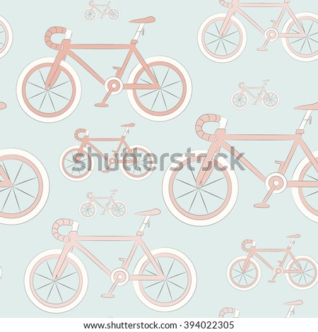Bicycles seamless pattern. Fixed gear bikes. Shades of pink on light blue background. - stock vector