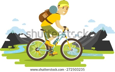 Bicyclist traveler with backpack riding a bike on mountain background  in flat style - stock vector