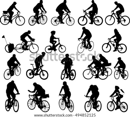 bicyclists big silhouettes collection - vector