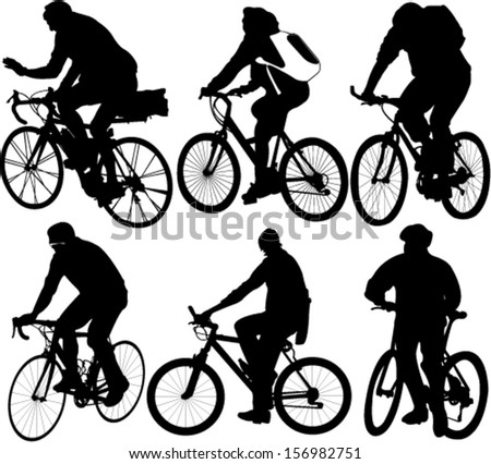 bicyclists collection vector - stock vector