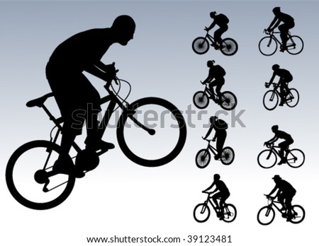 bicyclists collection - vector - stock vector