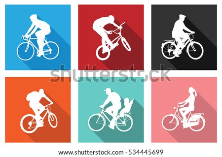 bicyclists on flat icons for web or mobile applications - vector
