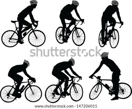 bicyclists silhouette - vector - stock vector
