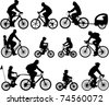bicyclists silhouettes collection - vector - stock photo