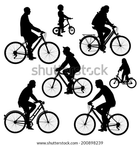 Bicyclists silhouettes collection. Vector illustration - stock vector
