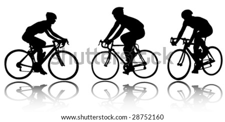 bicyclists - vector - stock vector