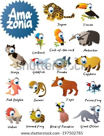 Big Amazonia Animals Set - stock vector